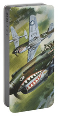 Famous Aircraft And Their Pilots Portable Battery Charger by Wilf Hardy