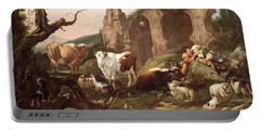 Farm Animals In A Landscape Portable Battery Charger by Johann Heinrich Roos