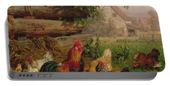Farmyard Chickens Portable Battery Charger by Carl Jutz