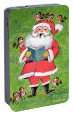 Father Christmas And Robin Chorus Portable Battery Charger by Stanley Cooke