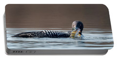 Feeding Common Loon Square Portable Battery Charger by Bill Wakeley