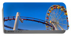 Ferris Wheel At Santa Monica Pier Portable Battery Charger by Panoramic Images