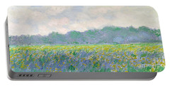Field Of Yellow Irises At Giverny Portable Battery Charger by Claude Monet
