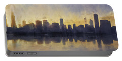Fire In The Sky Chicago At Sunset Portable Battery Charger by Scott Norris