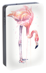 Flamingo Illustration Watercolor - Facing Left Portable Battery Charger by Olga Shvartsur