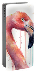 Flamingo Painting Watercolor - Facing Right Portable Battery Charger by Olga Shvartsur