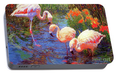 Flamingos, Tangerine Dream Portable Battery Charger by Jane Small