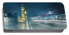 Foggy Mist Covered Westminster Bridge Portable Battery Charger by Martin Newman