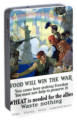 Food Will Win The War Portable Battery Charger by War Is Hell Store