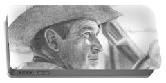 Former Pres. George W. Bush Wearing A Cowboy Hat Portable Battery Charger by Michelle Flanagan