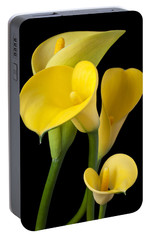 Four Yellow Calla Lilies Portable Battery Charger by Garry Gay