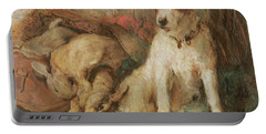 Fox Terrier With The Day's Bag Portable Battery Charger by English School