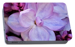 French Lilac Flower Portable Battery Charger by Rona Black