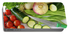 Fresh Vegetables Portable Battery Charger by Carlos Caetano