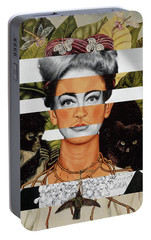 Frida Kahlo And Joan Crawford Portable Battery Charger by Luigi Tarini