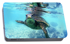 friendly Hawaiian sea turtle  Portable Battery Charger by Sean Davey