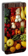 Fruits And Vegetables In Compartments Portable Battery Charger by Garry Gay