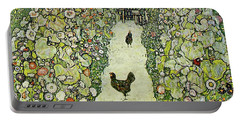 Garden With Chickens Portable Battery Charger by Gustav Klimt