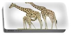 Giraffe Family Portable Battery Charger by Juan Bosco