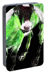Goat Pop Art - Green - Sharon Cummings Portable Battery Charger by Sharon Cummings