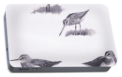Godwits And Green Sandpipers Portable Battery Charger by Archibald Thorburn