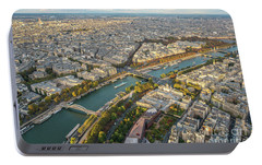 Golden Light Along The Seine Portable Battery Charger by Mike Reid