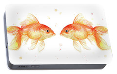Goldfish Love Watercolor Portable Battery Charger by Olga Shvartsur
