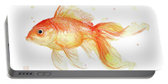 Goldfish Painting Watercolor Portable Battery Charger by Olga Shvartsur