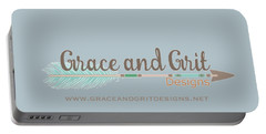 Grace And Grit Logo Portable Battery Charger by Elizabeth Taylor
