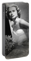 Grace Kelly Drawing Portable Battery Charger by Quim Abella