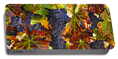 Grapes On Vine In Vineyards Portable Battery Charger by Garry Gay
