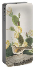 Grass Finch Or Bay Winged Bunting Portable Battery Charger by John James Audubon