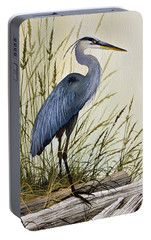 Great Blue Heron Splendor Portable Battery Charger by James Williamson