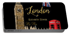 Great Cities London - Big Ben British Phone Booth Portable Battery Charger by Audrey Jeanne Roberts