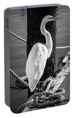 Great White Heron In Black And White Portable Battery Charger by Garry Gay