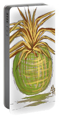 Green Gold Pineapple Painting Illustration Aroon Melane 2015 Collection By Madart Portable Battery Charger by Megan Duncanson