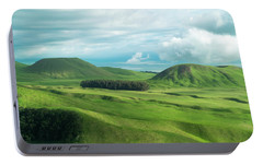 Green Hills On The Big Island Of Hawaii Portable Battery Charger by Larry Marshall