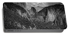 Half Dome And El Capitan In Black And White Portable Battery Charger by Rick Berk