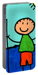 Happi Arte 2 - Boy Fish Art Portable Battery Charger by Sharon Cummings