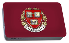 Harvard University Seal - Coat Of Arms Over Colours Portable Battery Charger by Serge Averbukh