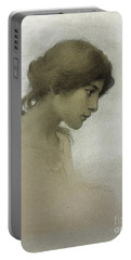 Head Of A Girl  Portable Battery Charger by Franz Dvorak