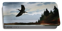 Heron Silhouette Portable Battery Charger by James Williamson