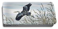 Herons Flight Portable Battery Charger by James Williamson