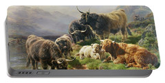 Highland Cattle Portable Battery Charger by William Watson