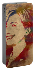 Hillary Rodham Clinton Watercolor Portrait Portable Battery Charger by Design Turnpike