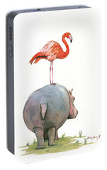Hippo With Flamingo Portable Battery Charger by Juan Bosco