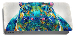 Hippopotamus Art - Happy Hippo - By Sharon Cummings Portable Battery Charger by Sharon Cummings