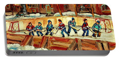 Hockey Rinks In Montreal Portable Battery Charger by Carole Spandau