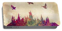 Hogwarts Castle Watercolor Art Print Portable Battery Charger by Svetla Tancheva