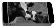 Holstein Cow Farm Black And White Portable Battery Charger by Crista Forest